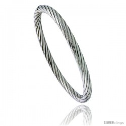Sterling Silver Bangle Bracelet Twisted Tube High Polished 1/4 in wide