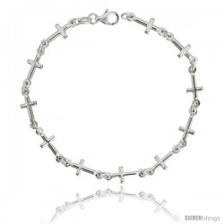 "Sterling Silver Linked Cross Bracelet, 1/4"" (6 mm) wide, 7 in"