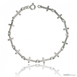 "Sterling Silver Linked Plain Cross Bracelet, 1/4"" (6 mm) wide, 7 in"