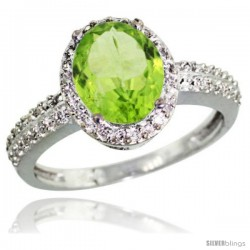 Sterling Silver Diamond Natural Peridot Ring Oval Stone 9x7 mm 1.76 ct 1/2 in wide