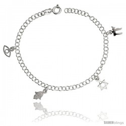 "Sterling Silver Adjustable Charm Bracelet w/ Jewish Symbols, 1/2"" (12 mm) wide, 7 in"