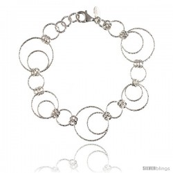 Sterling Silver Wire Dangling Circles Hanging Hoop Diamond Cut 7.5 in. Bracelet w/ White Gold Finish, 1 in. (25 mm) drop