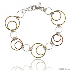 Sterling Silver Wire Dangling Circles Hanging Hoop Diamond Cut 7.5 in Bracelet w/ White, Yellow & Rose Gold Finish, 1 in