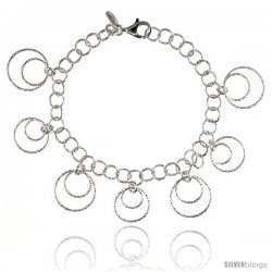 Sterling Silver Wire Hoop Circles Diamond Cut 8 in. Bracelet w/ White Gold Finish, 7/8 in. (22 mm) wide