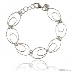 Sterling Silver Wire Oval Hoop Diamond Cut 7.5 in. Bracelet w/ White Gold Finish, 9/16 in. (14 mm) wide