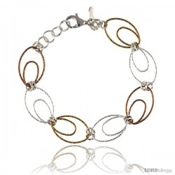 Sterling Silver Wire Oval Hoop Diamond Cut 7.5 in. Bracelet w/ White, Yellow & Rose Gold Finish, 9/16 in. (14 mm) wide