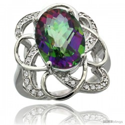14k White Gold Natural Mystic Topaz Floral Design Ring 13x 19 mm Oval Shape Diamond Accent, 7/8inch wide