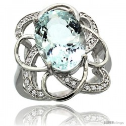 14k White Gold Natural Aquamarine Floral Design Ring 13x 19 mm Oval Shape Diamond Accent, 7/8inch wide