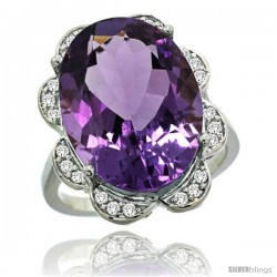 14k White Gold Natural Amethyst Ring 18x13 mm Oval Shape Diamond Halo, 3/4inch wide
