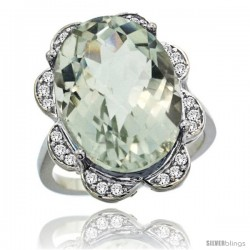14k White Gold Natural Green Amethyst Ring 18x13 mm Oval Shape Diamond Halo, 3/4inch wide