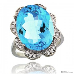 14k White Gold Sky Blue Topaz Halo Engagement Ring 15.6 Carats Oval Cut Stone 0.23 cttw Diamonds, 3/4inch.