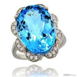 14k White Gold Natural Swiss Blue Topaz Ring 18x13 mm Oval Shape Diamond Halo, 3/4inch wide