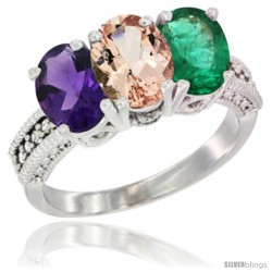 14K White Gold Natural Amethyst, Morganite & Emerald Ring 3-Stone 7x5 mm Oval Diamond Accent