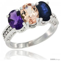 14K White Gold Natural Amethyst, Morganite & Blue Sapphire Ring 3-Stone 7x5 mm Oval Diamond Accent