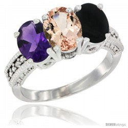 14K White Gold Natural Amethyst, Morganite & Black Onyx Ring 3-Stone 7x5 mm Oval Diamond Accent