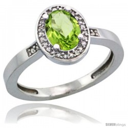 Sterling Silver Diamond Natural Peridot Ring 1 ct 7x5 Stone 1/2 in wide