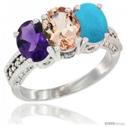 14K White Gold Natural Amethyst, Morganite & Turquoise Ring 3-Stone 7x5 mm Oval Diamond Accent