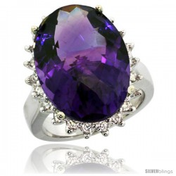 14k White Gold Diamond Halo Amethyst Ring 10 ct Large Oval Stone 18x13 mm, 7/8 in wide -Style Cw401132