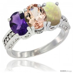 14K White Gold Natural Amethyst, Morganite & Opal Ring 3-Stone 7x5 mm Oval Diamond Accent