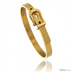 Stainless Steel Gold Tone Belt Buckle Bangle Bracelet, 7/16 in wide, 7 in