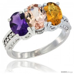14K White Gold Natural Amethyst, Morganite & Whisky Quartz Ring 3-Stone 7x5 mm Oval Diamond Accent