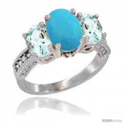 10K White Gold Ladies Natural Turquoise Oval 3 Stone Ring with Aquamarine Sides Diamond Accent