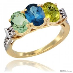 10K Yellow Gold Natural Green Amethyst, London Blue Topaz & Lemon Quartz Ring 3-Stone Oval 7x5 mm Diamond Accent