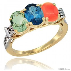 10K Yellow Gold Natural Green Amethyst, London Blue Topaz & Coral Ring 3-Stone Oval 7x5 mm Diamond Accent
