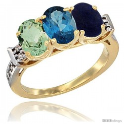 10K Yellow Gold Natural Green Amethyst, London Blue Topaz & Lapis Ring 3-Stone Oval 7x5 mm Diamond Accent