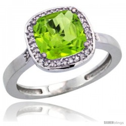 Sterling Silver Diamond Natural Peridot Ring 2.08 ct Checkerboard Cushion 8mm Stone 1/2.08 in wide