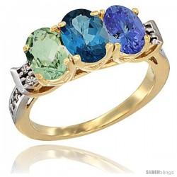 10K Yellow Gold Natural Green Amethyst, London Blue Topaz & Tanzanite Ring 3-Stone Oval 7x5 mm Diamond Accent