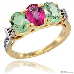 10K Yellow Gold Natural Pink Topaz & Green Amethyst Sides Ring 3-Stone Oval 7x5 mm Diamond Accent
