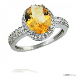 14k White Gold Diamond Citrine Ring Oval Stone 10x8 mm 2.4 ct 1/2 in wide