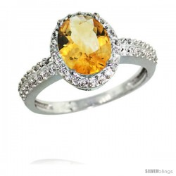 14k White Gold Diamond Citrine Ring Oval Stone 9x7 mm 1.76 ct 1/2 in wide