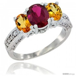 14k White Gold Ladies Oval Natural Ruby 3-Stone Ring with Citrine Sides Diamond Accent