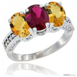 14K White Gold Natural Ruby & Citrine Sides Ring 3-Stone 7x5 mm Oval Diamond Accent