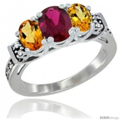 14K White Gold Natural High Quality Ruby & Citrine Ring 3-Stone Oval with Diamond Accent