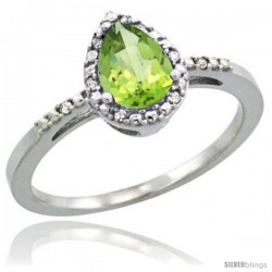 Sterling Silver Diamond Natural Peridot Ring 0.59 ct Tear Drop 7x5 Stone 3/8 in wide