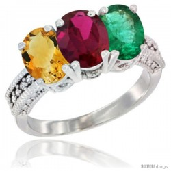 14K White Gold Natural Citrine, Ruby & Emerald Ring 3-Stone 7x5 mm Oval Diamond Accent