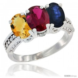 14K White Gold Natural Citrine, Ruby & Blue Sapphire Ring 3-Stone 7x5 mm Oval Diamond Accent