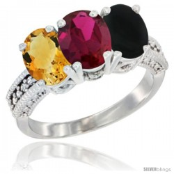 14K White Gold Natural Citrine, Ruby & Black Onyx Ring 3-Stone 7x5 mm Oval Diamond Accent