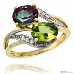 14k Gold ( 8x6 mm ) Double Stone Engagement Mystic Topaz & Peridot Ring w/ 0.07 Carat Brilliant Cut Diamonds & 2.34 Carats Oval