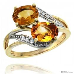 14k Gold ( 8x6 mm ) Double Stone Engagement Citrine Ring w/ 0.07 Carat Brilliant Cut Diamonds & 2.34 Carats Oval Cut Stones