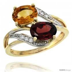 14k Gold ( 8x6 mm ) Double Stone Engagement Citrine & Garnet Ring w/ 0.07 Carat Brilliant Cut Diamonds & 2.34 Carats Oval Cut