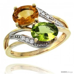 14k Gold ( 8x6 mm ) Double Stone Engagement Citrine & Peridot Ring w/ 0.07 Carat Brilliant Cut Diamonds & 2.34 Carats Oval Cut