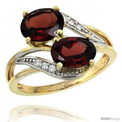 14k Gold ( 8x6 mm ) Double Stone Engagement Garnet Ring w/ 0.07 Carat Brilliant Cut Diamonds & 2.34 Carats Oval Cut Stones, 3/4