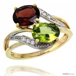 14k Gold ( 8x6 mm ) Double Stone Engagement Garnet & Peridot Ring w/ 0.07 Carat Brilliant Cut Diamonds & 2.34 Carats Oval Cut