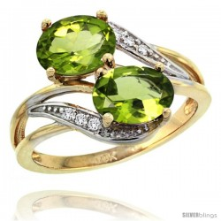 14k Gold ( 8x6 mm ) Double Stone Engagement Peridot Ring w/ 0.07 Carat Brilliant Cut Diamonds & 2.34 Carats Oval Cut Stones
