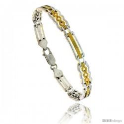 Sterling Silver Rolex Link Bracelet w/ Gold Finish), 1/4 in. (7 mm) wide