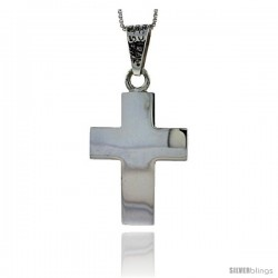 Sterling Silver Cross Pendant Highly Polished Handmade, 1 1/4 in